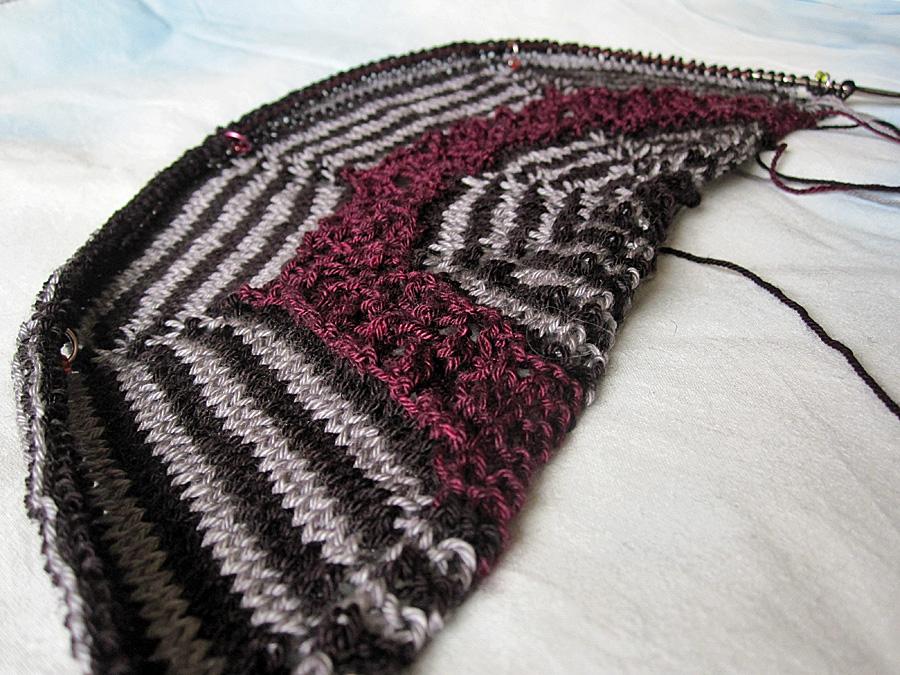 mystery shawl in progress