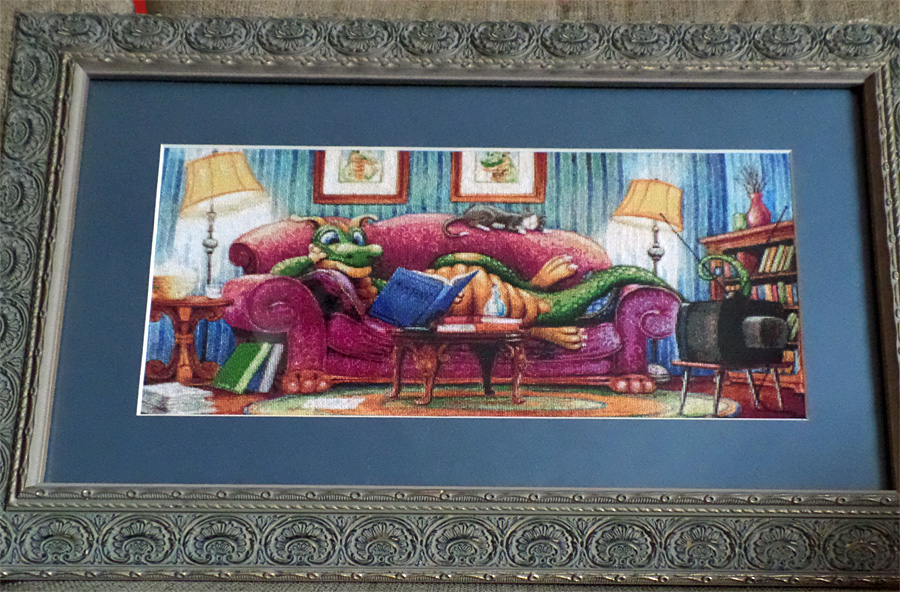 Couch Dragon Framed